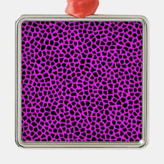 Hot Pink Leopard Print Metal Ornament
