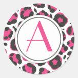 Hot Pink Leopard Print Monogram Sticker