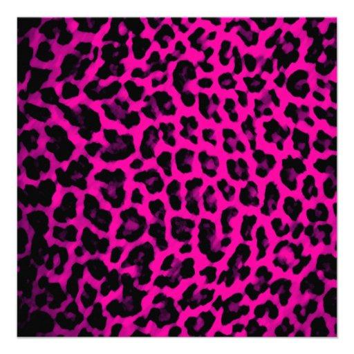 Hot Pink Leopard Print 5.25x5.25 Square Paper Invitation ...