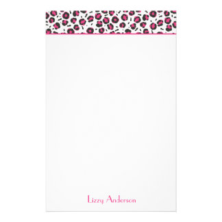 Hot Pink Leopard Print Personalized Stationery