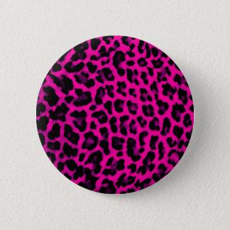 Hot Pink Leopard Print Pinback Button