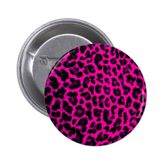 Hot Pink Leopard Print Pinback Button
