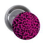Hot Pink Leopard Print Pinback Buttons