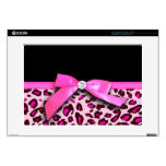 """Hot pink leopard print ribbon bow graphic 15"""" laptop skin"""