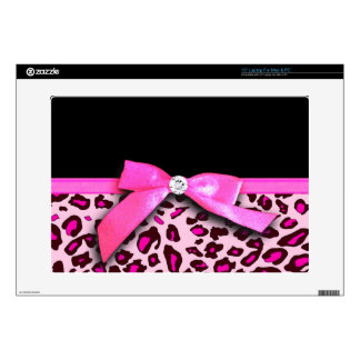 "Hot pink leopard print ribbon bow graphic 15"" laptop skin"