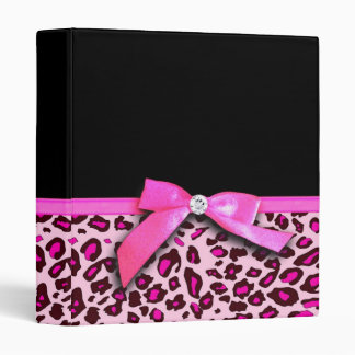 Hot pink leopard print ribbon bow graphic 3 ring binders