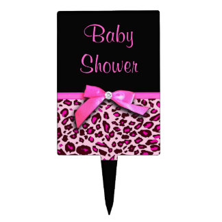 Hot pink leopard print ribbon bow graphic cake topper