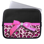 Hot pink leopard print ribbon bow graphic computer sleeve