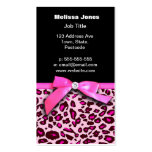 Hot pink leopard print ribbon bow graphic Double-Sided standard business cards (Pack of 100)