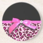 Hot pink leopard print ribbon bow graphic drink coasters