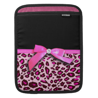 Hot pink leopard print ribbon bow graphic iPad sleeve