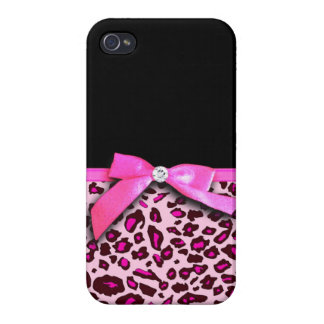 Hot pink leopard print ribbon bow graphic iPhone 4/4S case