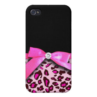 Hot pink leopard print ribbon bow graphic iPhone 4/4S covers