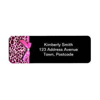 Hot pink leopard print ribbon bow graphic label