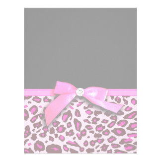 Hot pink leopard print ribbon bow graphic letterhead