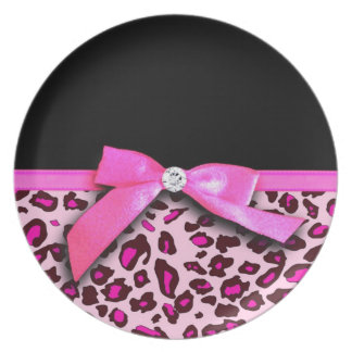 Hot pink leopard print ribbon bow graphic melamine plate