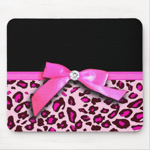 Hot pink leopard print ribbon bow graphic mouse pads