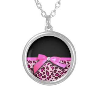 Hot pink leopard print ribbon bow graphic custom necklace