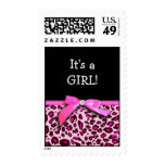 Hot pink leopard print ribbon bow graphic postage