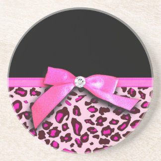 Hot pink leopard print ribbon bow graphic sandstone coaster