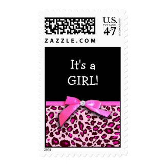 Hot pink leopard print ribbon bow graphic stamp