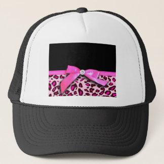 Hot pink leopard print ribbon bow graphic trucker hat
