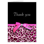 Hot pink leopard print ribbon bow-look Thank you Greeting Card