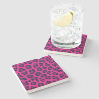 Hot Pink Leopard Print Stone Coaster