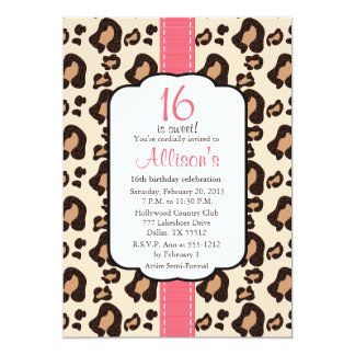 Hot Pink Leopard Print Sweet Sixteen Invitations
