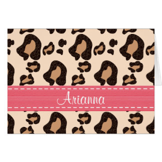 Hot Pink Leopard Print Thank You Notes Personalize Cards
