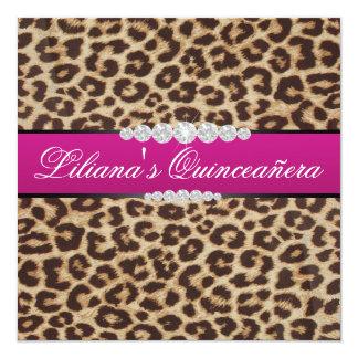 Hot pink Leopard quinceanera Card