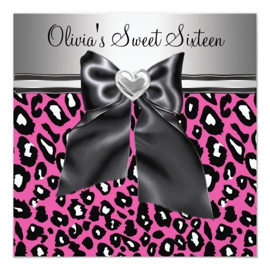 Hot pink Leopard Sweet Sixteen Birthday Card