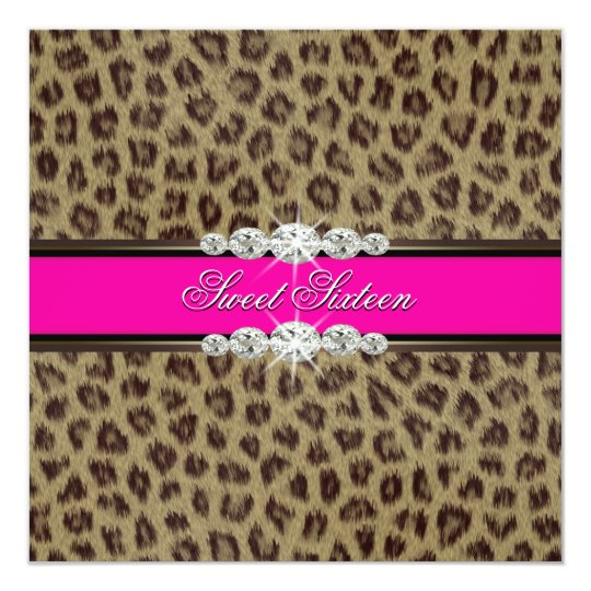 Hot Pink Leopard Sweet Sixteen Birthday Party Card