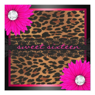 Hot Pink Leopard Sweet Sixteen Card