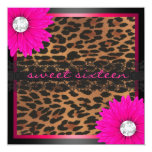 Hot Pink Leopard Sweet Sixteen 5.25x5.25 Square Paper Invitation Card