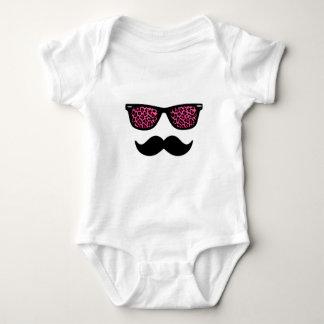 Hot Pink Leopard Wayfarer Mustache Design Infant Creeper