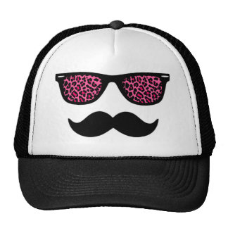 Hot Pink Leopard Wayfarer Mustache Design Trucker Hat