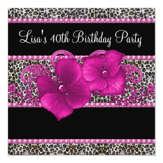 Hot Pink Leopard Womans 40th Birthday Party Card