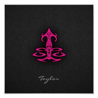 Hot Pink Libra Scales Zodiac Sign Poster
