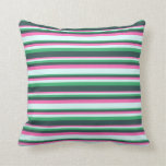 [ Thumbnail: Hot Pink, Light Cyan, Sea Green & Dark Slate Gray Throw Pillow ]