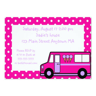 Hot Pink Lilac Ice Cream Party Birthday Invitation