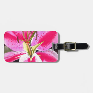 Hot Pink Lily Tenerife pop art watercolor flower Luggage Tag