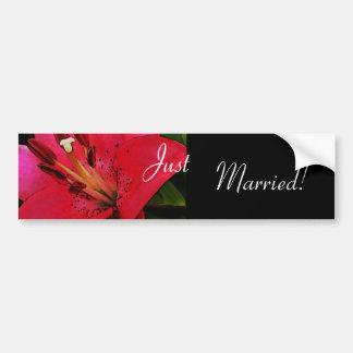 Hot Pink Lily Wedding Bumper Sticker Car Bumper Sticker