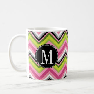 Hot Pink, Lime and Black Chevron Pattern Monogram Coffee Mug