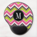 Hot Pink, Lime and Black Chevron Pattern Monogram Gel Mouse Pad
