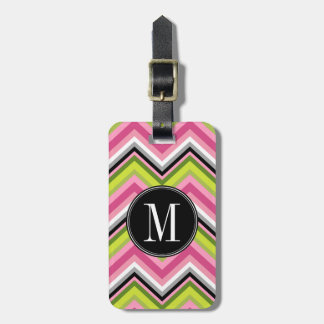 Hot Pink, Lime and Black Chevron Pattern Monogram Luggage Tag