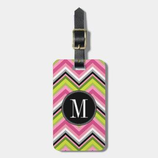 Hot Pink, Lime and Black Chevron Pattern Monogram Bag Tag