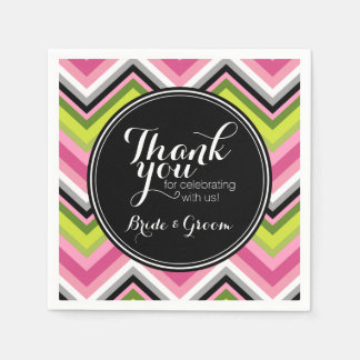 Hot Pink, Lime and Black Chevron Pattern Monogram Napkin