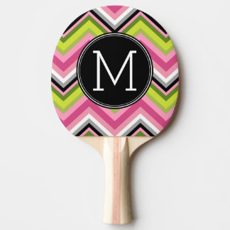 Hot Pink, Lime and Black Chevron Pattern Monogram Ping-Pong Paddle