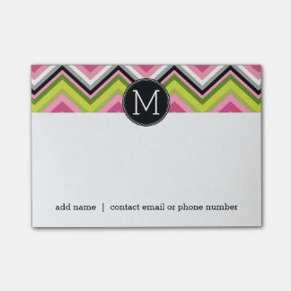Hot Pink, Lime and Black Chevron Pattern Monogram Post-it Notes